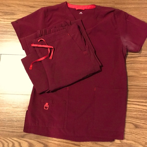 Red and pink carhartt scrubs
